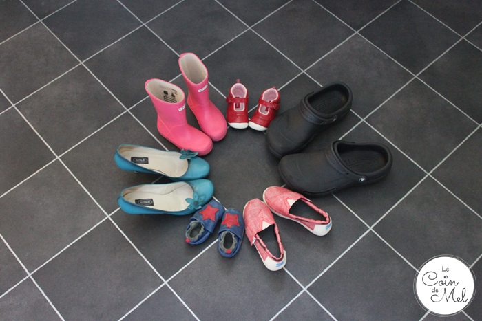 six pairs of shoes