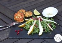 Crunchy Pear and Pomegranate Salad with Mustard Fishcakes