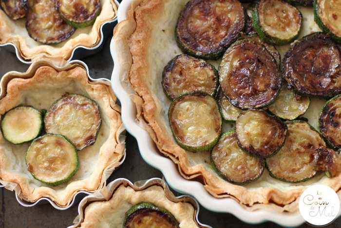 Courgette, Tomato & Goat's Cheese Quiche - Courgettes on Pastry