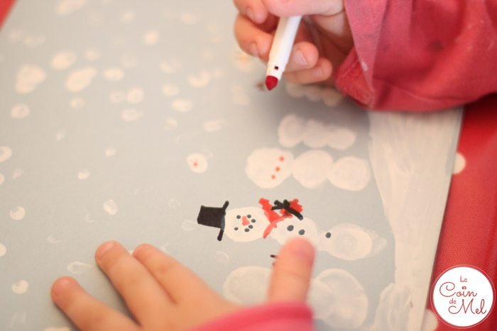 Thumbprint Art - Snowmen - Drawing