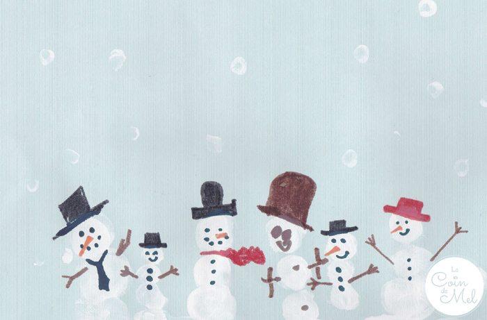 Thumbprint Art - Snowmen
