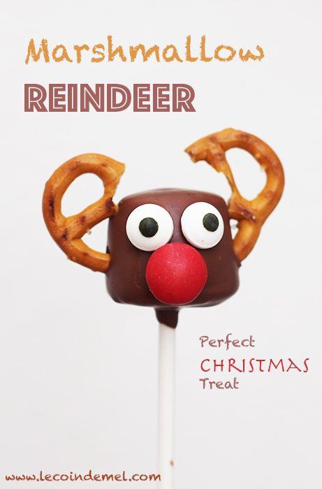These marshmallow reindeer pops are quick to make and they are really effective. Children love them. They make the best homemade treat for Christmas.