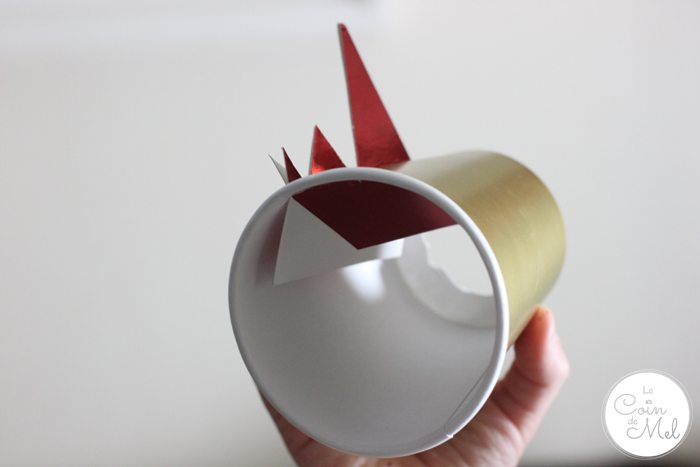 Paper Cup Dragon - 10 Minute Crafts - Attaching the Spikes to the Cup