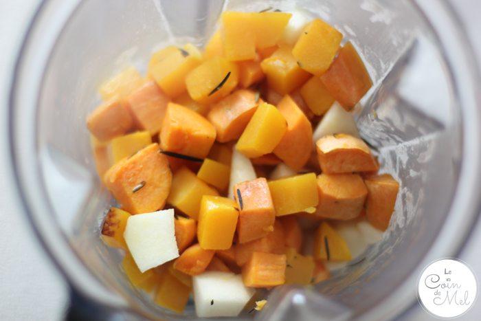 Sweet Potato, Butternut Squash, Pear & Rosemary Purée in Vitamix