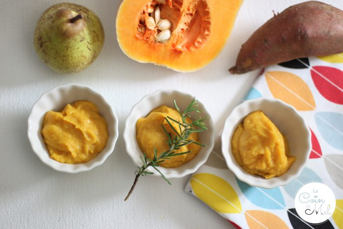 Weaning Baby - Sweet Potato, Butternut Squash, Pear & Rosemary Purée