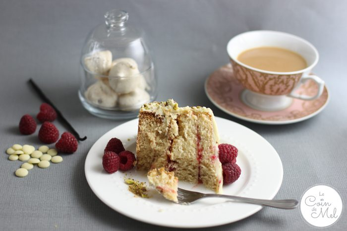 White Chocolate, Vanilla and Raspberry Layer Cake with a Cup of Tea