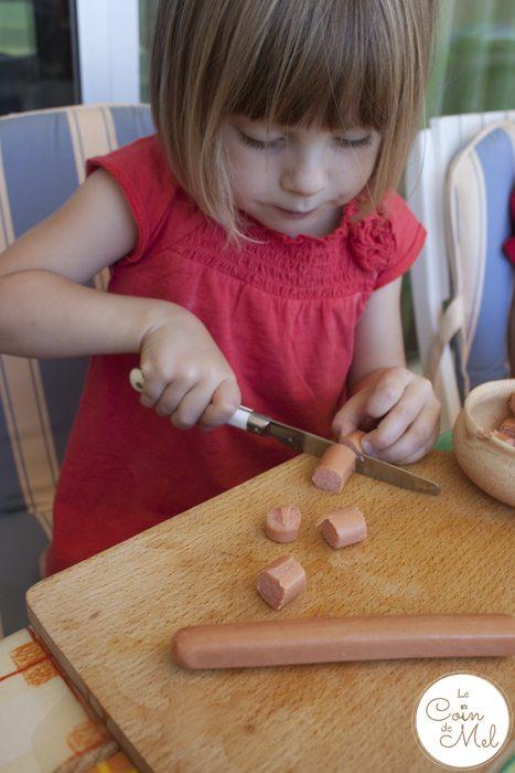 Beanie Cutting Sausages