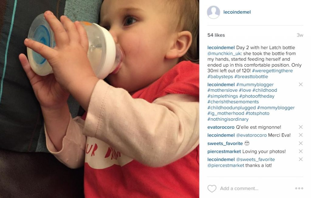 Instagram - First time with her LATCH bottle
