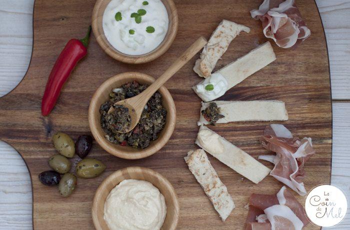 Sharing platter - hummus, tapenade, tzatziki, olives, pitta bread & ham