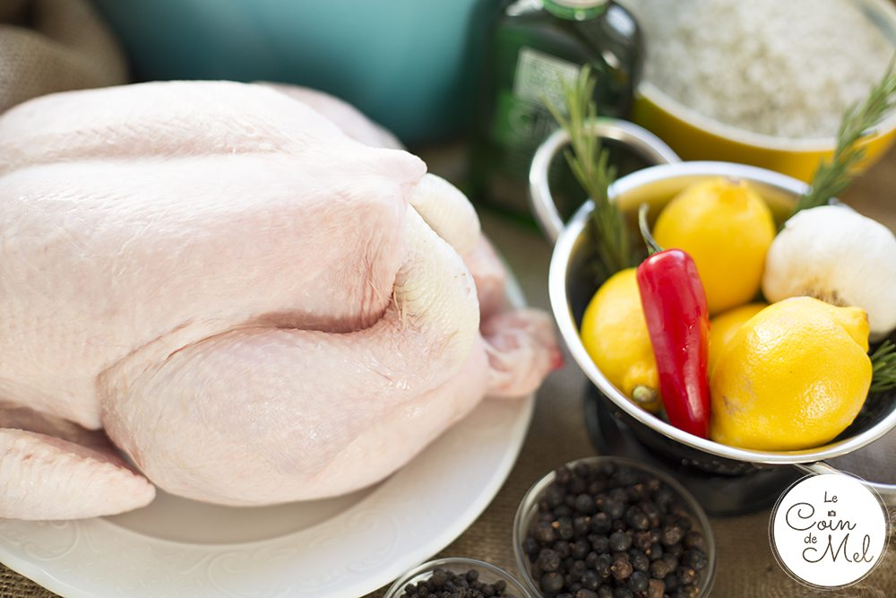 I have just found the perfect way to cook chicken or turkey and make sure it's always moist and full of flavours: by brining it before roasting! This recipe is so simple I'll always brine poultry before cooking it! The gin and lime twist makes all the difference! It's also 'free from' the top 14 allergens, making it the perfect free from Christmas recipe. The Top 14 Allergens: cereals containing gluten: wheat, rye, barley, oats if not GF, dairy, eggs,  soya, lupin, sesame, celery and celeriac, sulphites, mustard, fish, tree nuts (almonds, hazelnuts, walnuts, cashews, pecans, brazils, pistachios, macadamia nuts), peanuts, molluscs, crustaceans. Recipe via www.lecoindemel.com