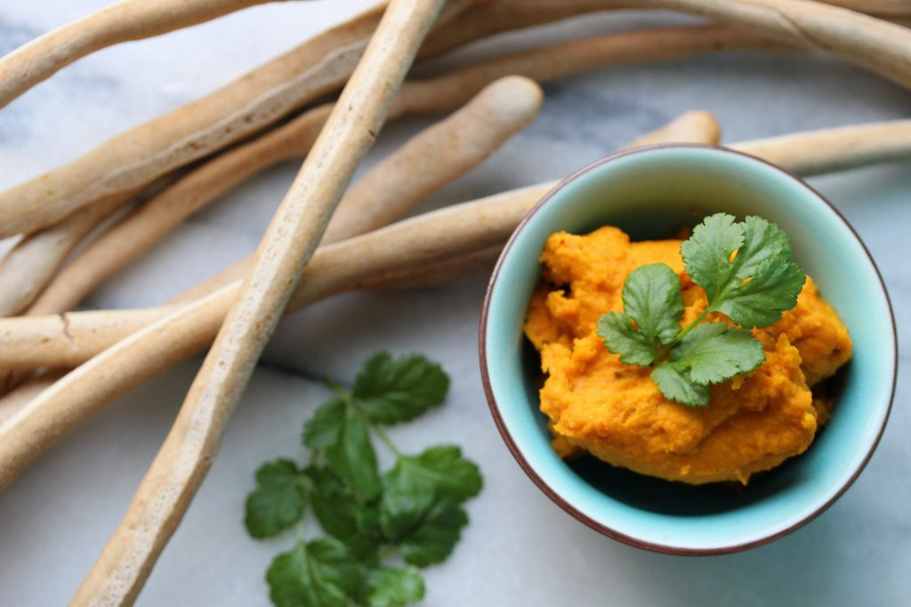 Allergy-friendly recipes - carrot dip and breadsticks