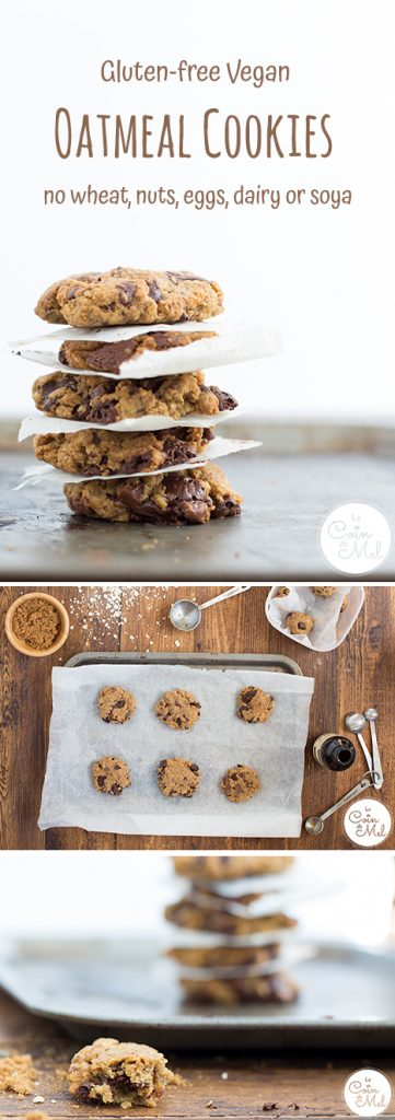 The only allergy-friendly chocolate chip cookies recipe you'll ever need! This recipe for Easy Gluten-free Vegan Oatmeal Cookies makes delicious cookies that contain no wheat, nuts, eggs, dairy or soya. Find more free from recipes at lecoindemel.com