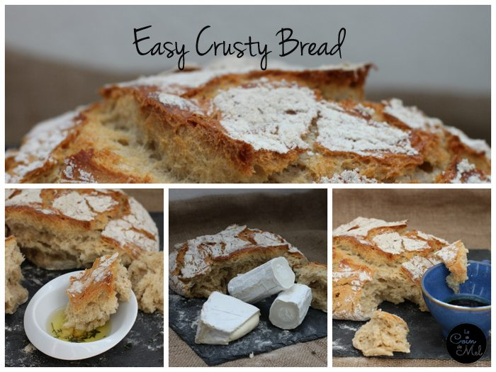 Easy Crusty Bread with watermark