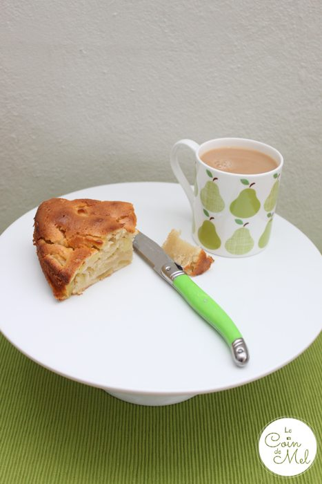 Just a slice of our delicious apple cale and a cup of tea
