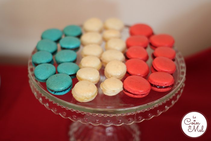 French Party - The Food - Blue, White, Red Macarons
