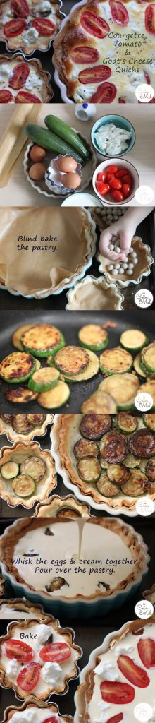 Courgette, Tomato & Goat's Cheese Quiche - A Visual Summary
