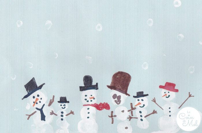 Thumbprint Art - Snowmen
