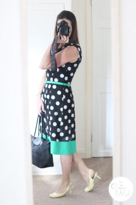 Precis Petite Spot Print Prom Dress - Jacques Vert Group - Dotty Dress Longchamp Handbag Gucci Watch Yellow Pumps