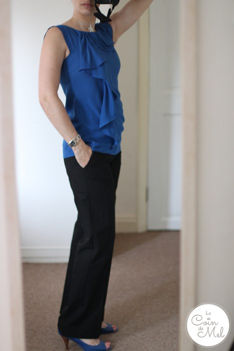 A Work Outfit with Pops of Colour - bold blue Oasis to, blue Aldo open-toe shoes, pink nails, suit trousers from Warehouse, Gucci watch, Martha Jackson tree necklace