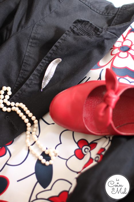Comfy but Classy for Work - Hilfiger Denim jacket with a gorgeous red floral pattern inside, Martha Jackson feather brooch, Red Sacha shoes & pearls
