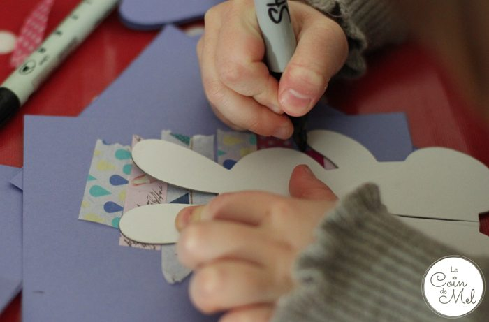 Washi Tape Cards - 4 Year Old Tracing her Bunny