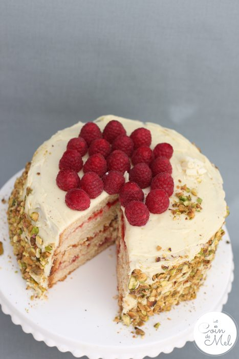 White Chocolate, Vanilla and Raspberry Layer Cake - Delicious, Easy and Decadent