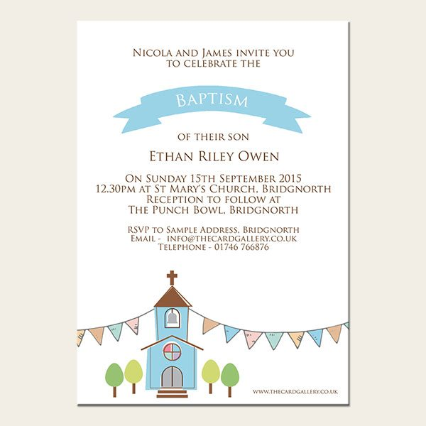 The Card Gallery Template - Baby-33-A6-Boys-Church-Baptism-Personalised