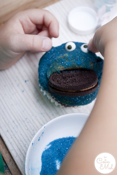 Oreo Peanut Butter Cupcakes - Beanie making her Cookie Monster