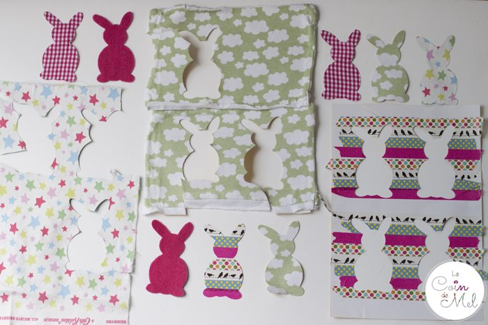 Funky Bunny Garland for Easter - Fabric Old Baby Clothes and Washi Tape
