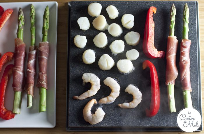 Aioli Recipe and Cooking on a Volcanic Slab - scallops and asparagus