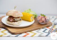 These tasty sausage burgers are easy to make and they are bursting with flavours! They can also easily be made wheat, gluten and egg-free.