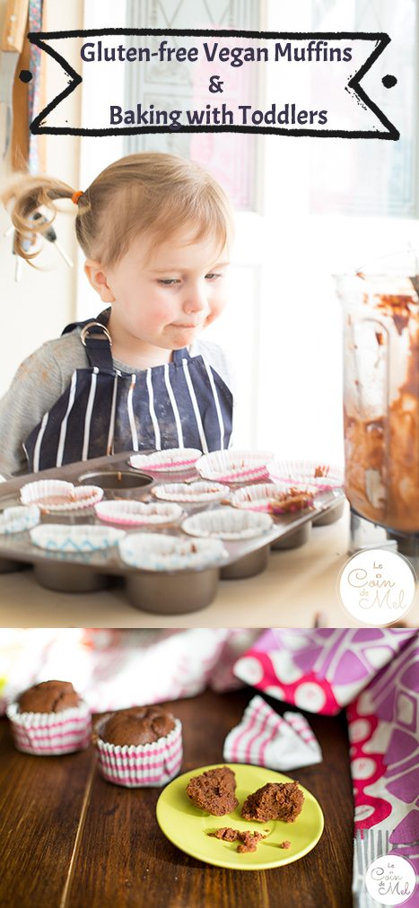 These vegan chocolate muffins are quick and easy to put together. You can whip them up in minutes yourself, or bake them with toddlers.