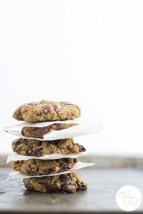 Tower of delicious Gluten-free Vegan Oatmeal Cookies fresh from the oven