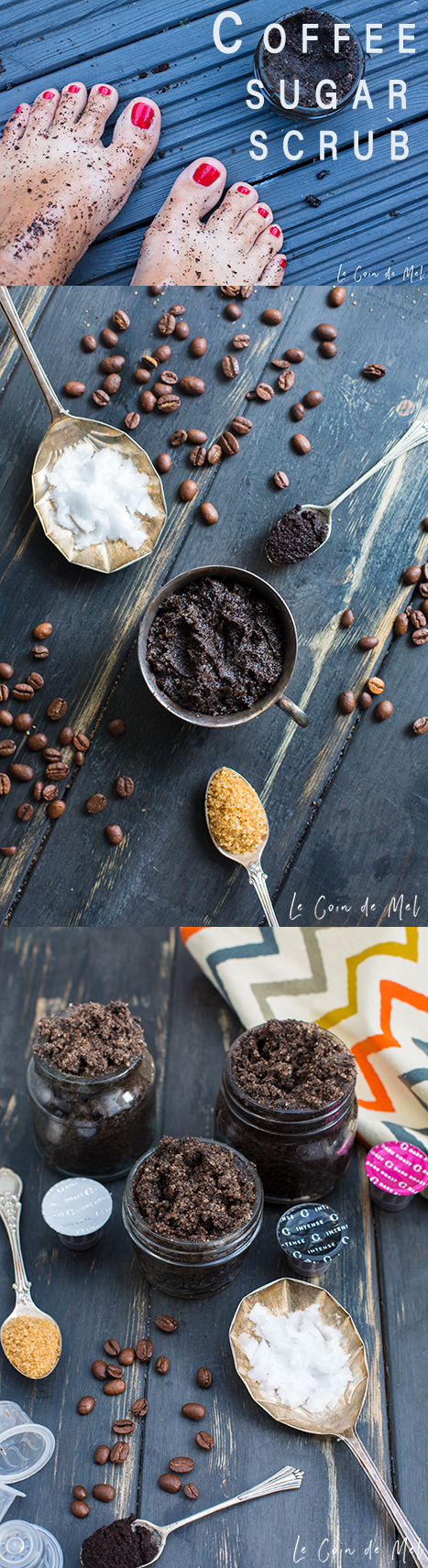 It's as easy as 1, 2, 3 to make this coffee sugar scrub, with only 3 ingredients: coffee grounds, coconut oil and demerara sugar. For soft, smooth skin!