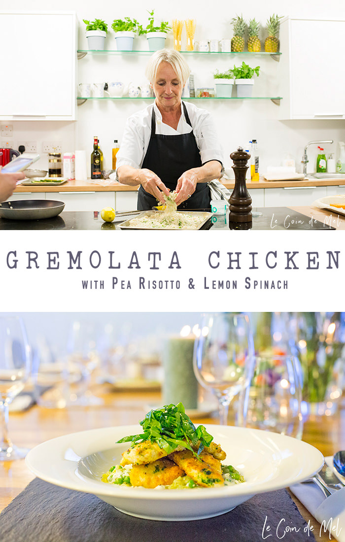 This gluten and lactose-free gremolata chicken, served on a bed of creamy risotto and topped with zingy lemon spinach, is the perfect dish to warm up a chilly autumn evening.