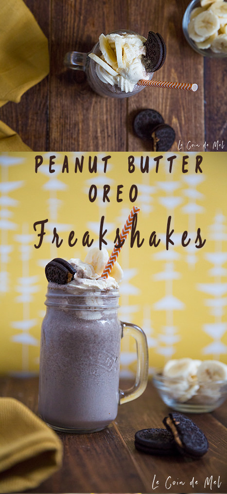 Peanut Butter Oreo Freakshakes: quick & easy to make and a bit decadent, with just a few ingredients: cream, peanut butter, milk, ice cream, Oreo, banana