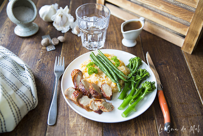 "Is there any food that screams ""comfort food!"" louder than a plate of sausages with creamy mash? Check out the recipe for our current family favourite: sausages, creamy potato and sweet potato mash with green veg."