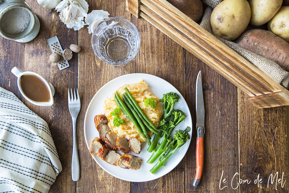 """Is there any food that screams """"comfort food!"""" louder than a plate of sausages with creamy mash? Check out the recipe for our current family favourite: sausages, creamy potato and sweet potato mash with green veg."""