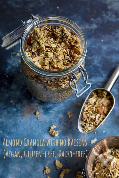 This almond granola is vegan, gluten-free (if using certified GF oats), nutritious, full texture as well as flavours, without any dried fruit. You can keep it for up to two weeks in an airtight container (preferably a well sealed glass jar).
