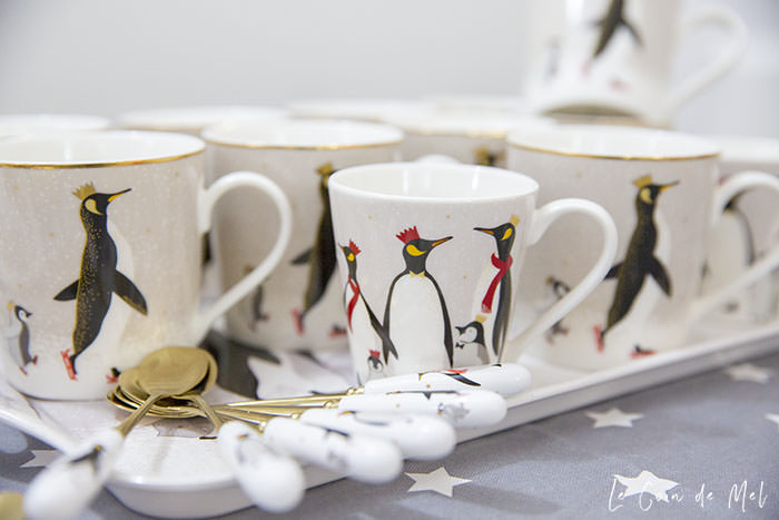Cute Sara Miller Penguin Portmeirion cups and spoons