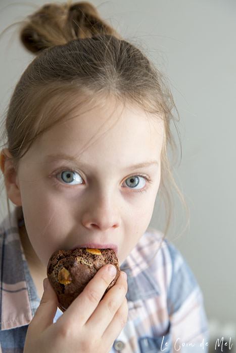 My biggest girl eating a triple chocolate banana muffin