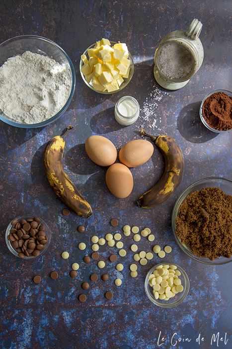 Ingredients you'll need to make our triple chocolate banana muffins