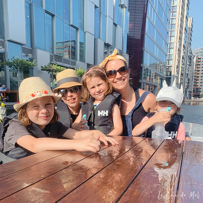 My 4 children and I aboard a GoBoat in London. I am wearing my Ray-Ban RB4068 sunglasses.