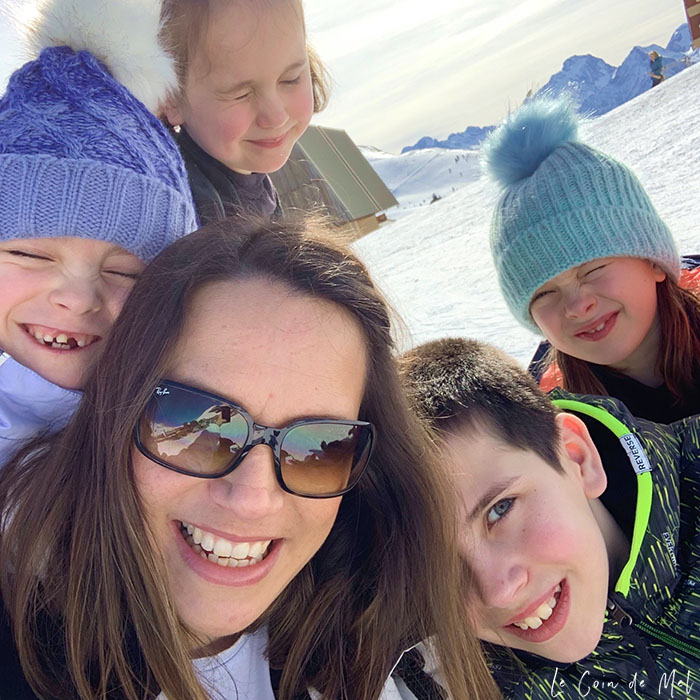 Selfie of my 4 children and I in the French Alps just before I lost my Ray-Ban RB4068  sunglasses.