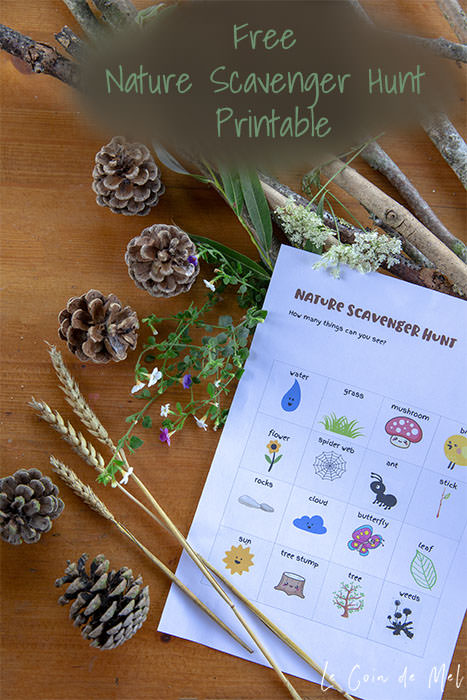 Free printable Nature Scavenger Hunt for kids of all ages whether they're preschoolers, big kids or tweens - great fun for a family walk, hike, visit to the park or outdoor-themed party.
