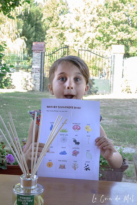 Wriggly showing our Nature Scavenger Hunt checklist