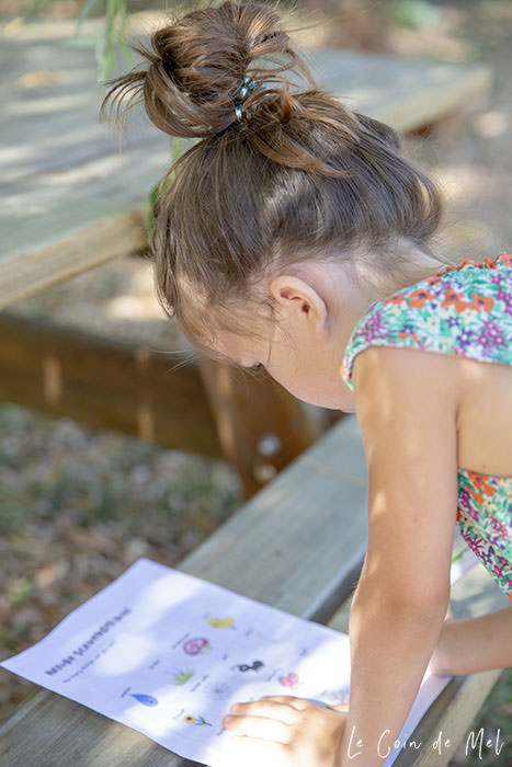 Wriggly ticking things off her Nature Scavenger Hunt checklist