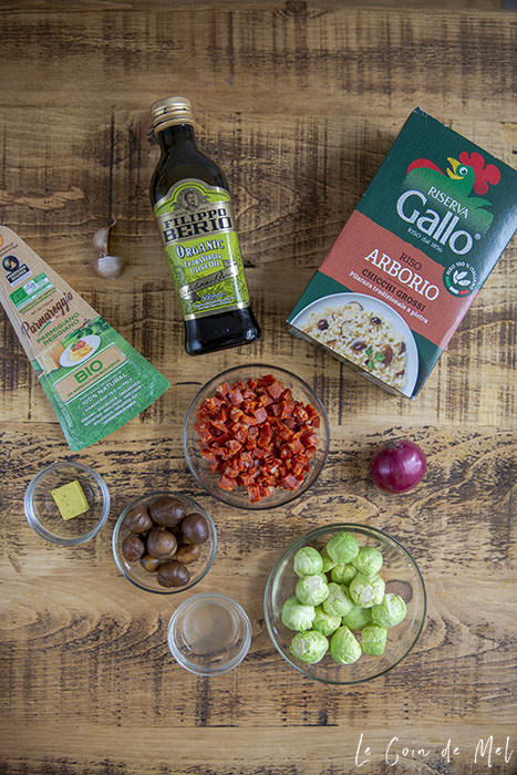Ingredients for the Easy Chorizo Risotto with Chestnuts and Brussel Sprouts