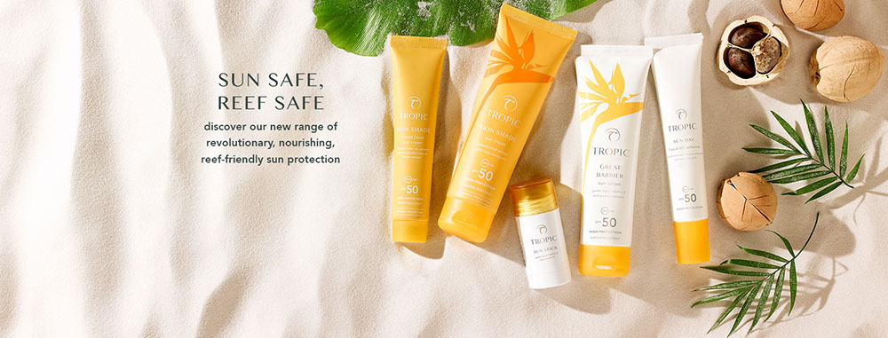 This is a picture featuring Tropic's Sun care laid out over sand. It's essential to use sunscreen and we love Tropic's range because it offers broad-spectrum coverage and it's reef-friendly.